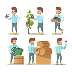 Winemaker Cartoon with Grapes and Wine. Vector character illustration