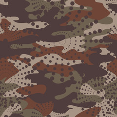 Camouflage and halftone pattern background seamless, mask clothing print. Repeatable camo vector. Dazzle paint masking abstract illustration