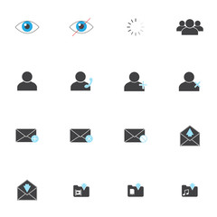 set of 16 mail and people vector icons