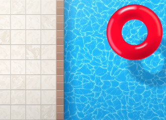 swimming pool ring with blue water top view