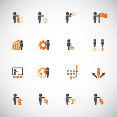 Business, strategy and human resources icon set