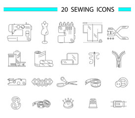 Sewing accessories and supplies line icon set. Sewing machine, overlock, needle, thread, centimeter tape, buttons, lace, scissors, fabric, hole punch. Vector illustration.