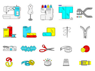 Sewing accessories and supplies colorful line icon set. Sewing machine, overlock, needle, thread, centimeter tape, buttons, lace, scissors, fabric, hole punch. Vector illustration.