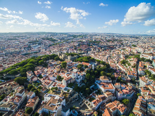 Aerial View old town of Lisbon city