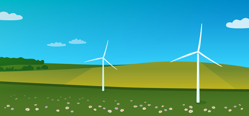Landscape with wind turbines and flowering field