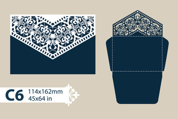 Layout congratulatory envelope with carved openwork pattern. The template for greetings, invitations, etc. Picture suitable for laser cutting, plotter cutting or printing