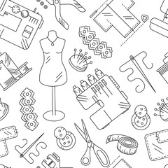Seamless pattern sewing accessories and supplies line pictures. Sewing machine, overlock, needle, thread, centimeter tape, buttons, lace, scissors, fabric, hole punch. Vector illustration.
