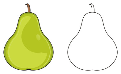 Fruit, Pear, Green, Juicy, Tree, Summer, Food,  Cartoon, Garden, two, different, colored, coloring