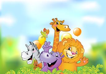 Cartoon animals, cheerful background