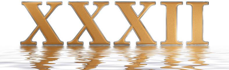 Roman numeral XXXII, duo et triginta, 32, thirty two, reflected on the water surface, isolated on  white, 3d render