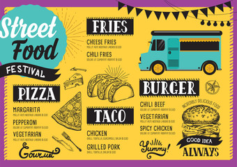 Street food menu, design template.