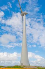 Wind turbine in a blue cloudy sky in spring