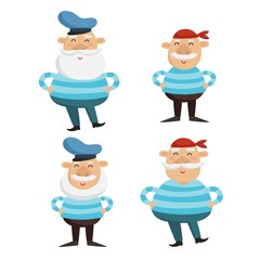 Vector illustration of happy captain and sailor characters in st