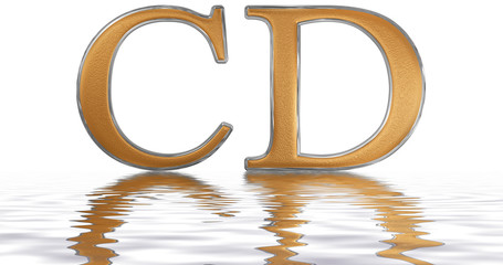 Roman numeral CD, quadringenti, 400, four hundred, reflected on the water surface, isolated on  white, 3d render