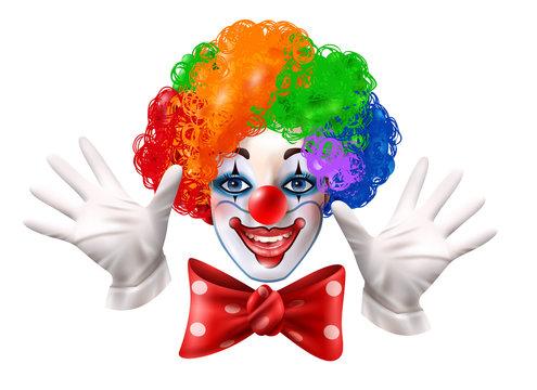 Circus Clown Face Colorful Realistic Portrait