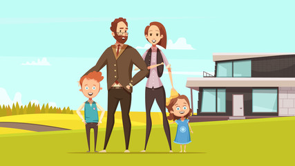 Happy Amicable Family Design Concept
