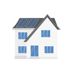 Clean modern house with solar panels. Eco friendly alternative energy