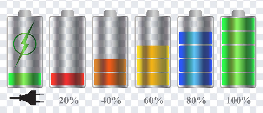 A discharged and fully charged battery (phone, tablet, smartphone). Isolated and transparent. Stages of charging the accumulator battery