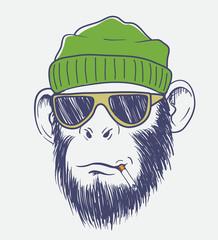 cool monkey smoking a cigarette