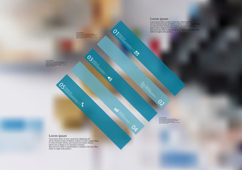 Illustration infographic template with rhombus askew divided to five standalone blue parts