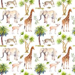 Wild animals - giraffe, elephant, cheetah, antelope. Savannah with palm trees. Repeating background. Watercolor