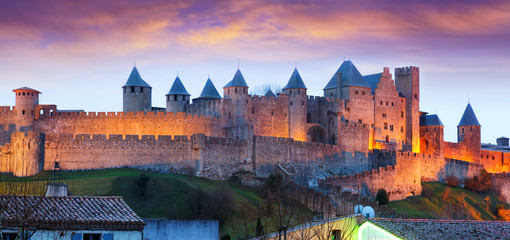 Castle in sunset time.  Carcassonne