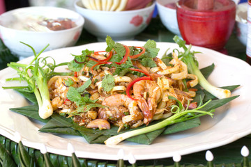 Banana blossom salad with shrimp