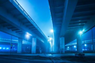 Urban highway. Evening traffic speed diameter.