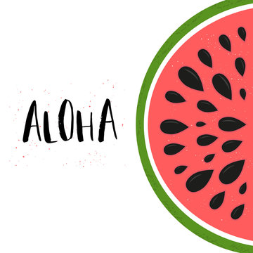 Bright summer postcard with hand drawn letterind and watermelon