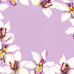 Floral background - white orchid flowers on violet paper texture. Hand painted aquarelle drawing