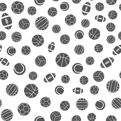 Sports balls vector seamless pattern