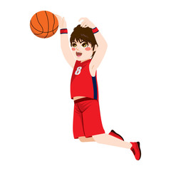 Red young teenager boy in a basketball jumping action
