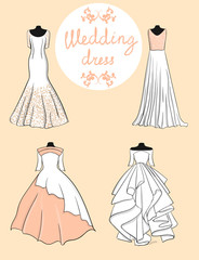 Set of four white wedding dresses on a pink background eps 10 illustration