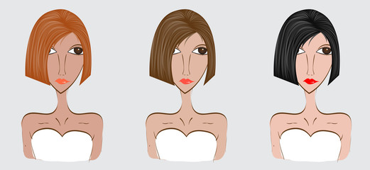 Woman with different facial expressions set, Women hair style, vector illustration