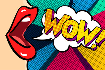 Spoed Fotobehang Pop Art Open mouth and WOW Message