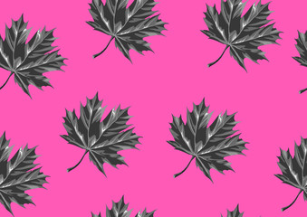 Seamless pattern with maple leaves. Decorative ornament
