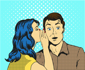 Man and woman whisper pop art vector illustration