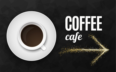 Luxury black background vector illustration with coffee cup
