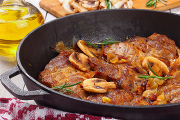classic pork stew with onion, mushrooms