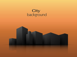 Vector silhouettes of city buildings Orange background