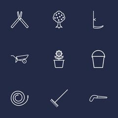 Set Of 9 Horticulture Outline Icons Set.Collection Of Harrow, Plant Pot, Firehose And Other Elements.
