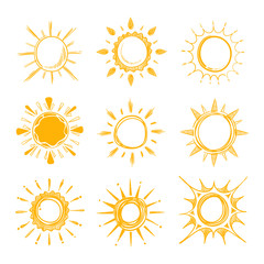 Shining bright hand drawn happy sun vector set