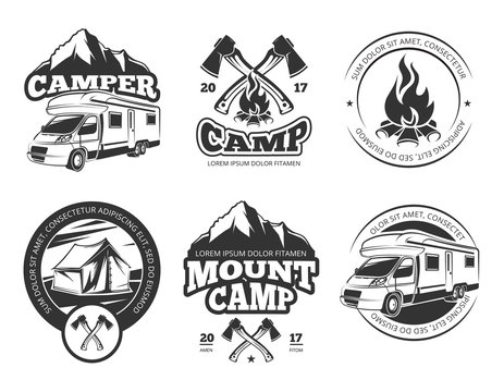 Vintage vector labels set with camper near mountain, tent and firtrees. Monochrome camping logo elements