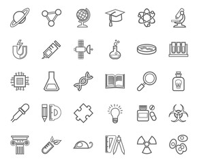 Science, icons, outline drawing, monochrome, vector. Linear, single-color icons on white background. Different types of scientific activities. Vector clip art.
