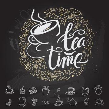 Tea time Hipster Vintage Stylized Lettering. Vector Illustration
