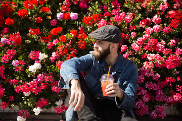 Handsome man with refreshing drink
