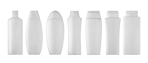Shampoo bottles set on white background. 3D illustartion.