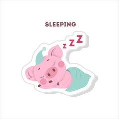 Sleeping pig sticker. Isolated cute sticker on white background.