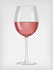 Realistic transparent glass filled with red wine