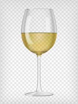 Realistic transparent glass filled with white wine